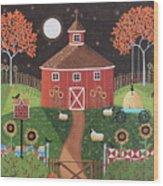Red Round Barn Wood Print