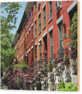 Red Row Houses Wood Print