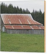 Red Rusty Tin Roofed Old Barn Washington State Wood Print