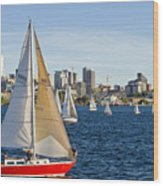 Red Sail Boat Wood Print