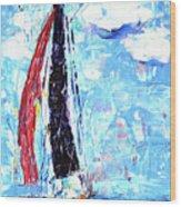 Red Sail Wood Print