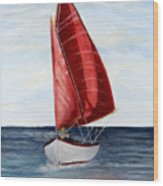 Red Sail Serenity Wood Print