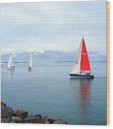 Red Sailing Freedom Wood Print