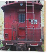 Red Sante Fe Caboose Train . 7d10476 Wood Print by Wingsdomain Art and Photography