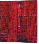 Red Scaffold Wood Print