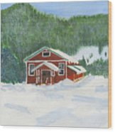 Red School House Wood Print