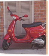 Red Scooter Wood Print