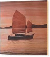 Red Sea With Chinese Boat Wood Print