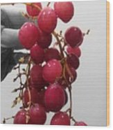 Red Seedless Grape Cluster Wood Print