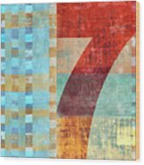 Red Seven And Stripes Mixed Media Wood Print