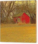 Red Shack Wood Print