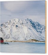 Red Shack On Fjord - Panorama Wood Print