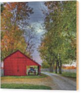 Red Shaker Carriage Barn Wood Print