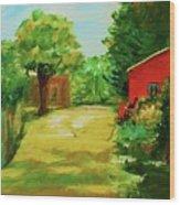 Red Shed Wood Print by Julie Lueders