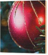 Red Shiny Ornament Wood Print