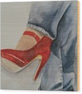 Red Shoes Wood Print