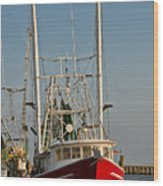 Red Shrimp Boat Wood Print