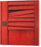 Red Shutter Wood Print by Timothy Johnson