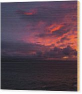 Red Skies At Night Hawaii Wood Print