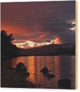 Red Skies Over Loch Rannoch Wood Print