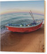 Red Skiff Wood Print