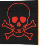 Red Skull And Crossbones Wood Print