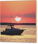Red Sky At Long Beach Island Wood Print