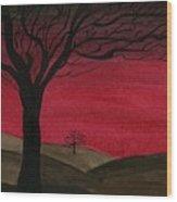 Red Sky - Dark Hills Wood Print