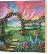 Red Sky Garden Wood Print