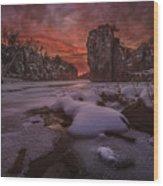 Red Sky, King Rock  Wood Print