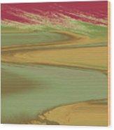 Red Sky Landscape Wood Print
