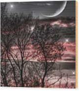 Red Sky Moon Wood Print