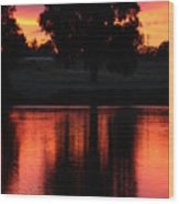 Red Sky Reflection With Tree Wood Print