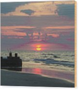 Red Sky Sun Rise Wood Print