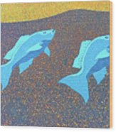 Red Snapper Inlay On Alabama Welcome Center Floor - Color Invert Wood Print