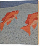 Red Snapper Inlay On Alabama Welcome Center Floor Wood Print