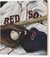 Red Sox Number Nine Wood Print by Jack Skinner