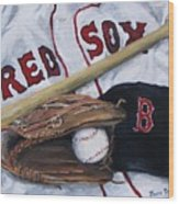 Red Sox Number Six Wood Print