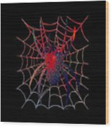 Red Spider On Black Wood Print