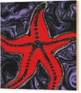 Red Starfish In Stormy Seas Wood Print