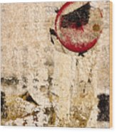 Red Sun Collage Wood Print