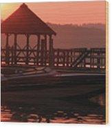 Red Sun Rising Wood Print