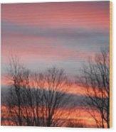 Red Sun Set Wood Print