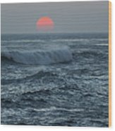 Red Sun With Wave Wood Print