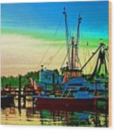 Red Sunrise And The Shrimp Boat Wood Print