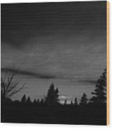 Red Sunrise In Parksville In Black And White Wood Print