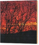 Red Sunrise Over The Ozarks Wood Print