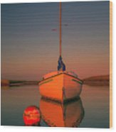 Red Sunrise Reflections On Sailboat Wood Print