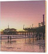Red Sunset In Santa Monica Wood Print