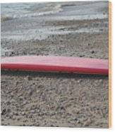 Red Surf Board On A Rocky Beach Wood Print